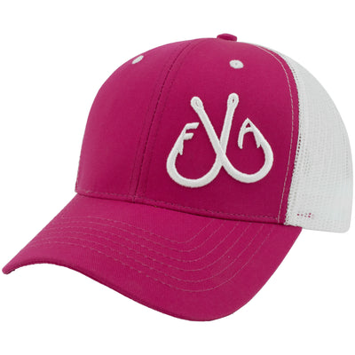 3D Hooks Trucker Hat, Pink & White