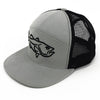 Filthy Bass 7 Panel Trucker Camp Hat, Grey & Black