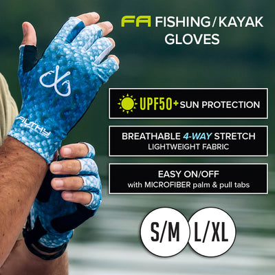 Fingerless Fishing & Kayak Gloves, UPF 50+ Sun Protection