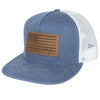 Flat Brim Leather Flag Patch Hat, 5 Panel, Blue Corduroy