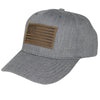 Leather Flag Patch Hat, 6 Panel, Grey