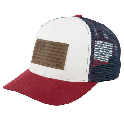Leather Flag Trucker, Red, White & Blue 6 Panel Curved Bill