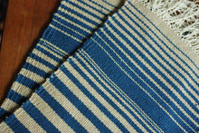 Blue and beige cotton runner