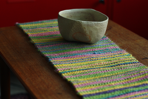 Colourful handspun silk table runner