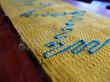 Handspun yellow silk chabu with blue handspun silk inlays