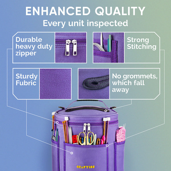 Purple Yarn Storage Bag - Durable Canvas Yarn Holder with Needle Case