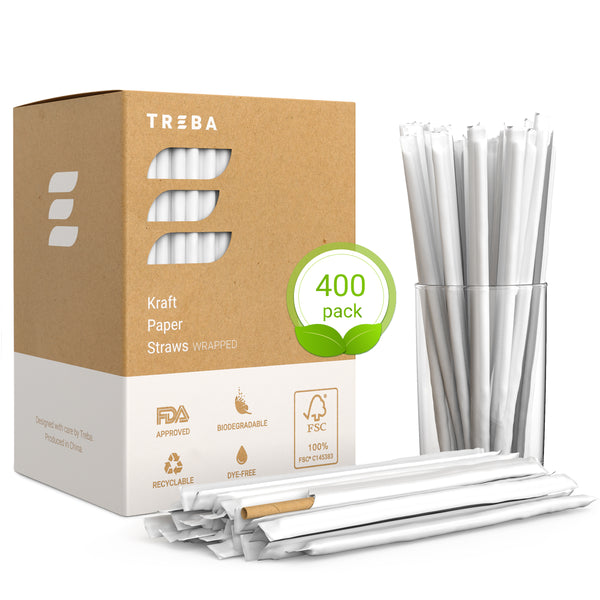 Eco-Friendly Paper Straws – Wrapped 400 pcs Biodegradable Drink Straws – Bulk Pack Dye Ink Free Kraft Drinking Straws