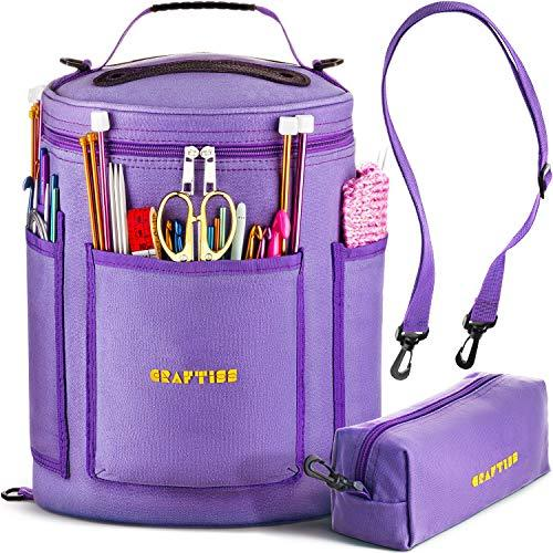 PURPLE Yarn Storage Bag - Tote Yarn Bag, Durable Knitting and Crochet Organizer with Needle Case