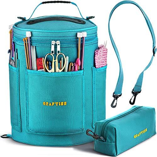 TIFFANY BLUE Yarn Storage Bag - Tote Yarn Bag, Durable Knitting and Crochet Organizer with Needle Case