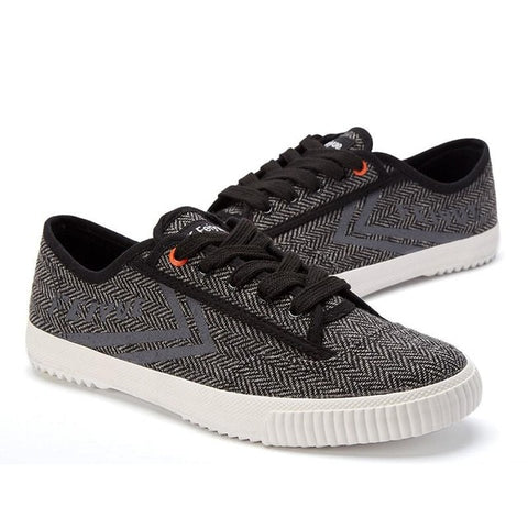 Herringbone Feiyue in Dark Grey / Black - One size only