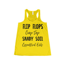 'Flip Flops, Crop Top, Sandy Soil, Essential Oils' Women's Flowy Racerback Tank