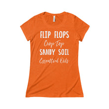 'Flip Flops, Crop Top, Sandy Soil, Essential Oils' Women's Triblend Short Sleeve Tee