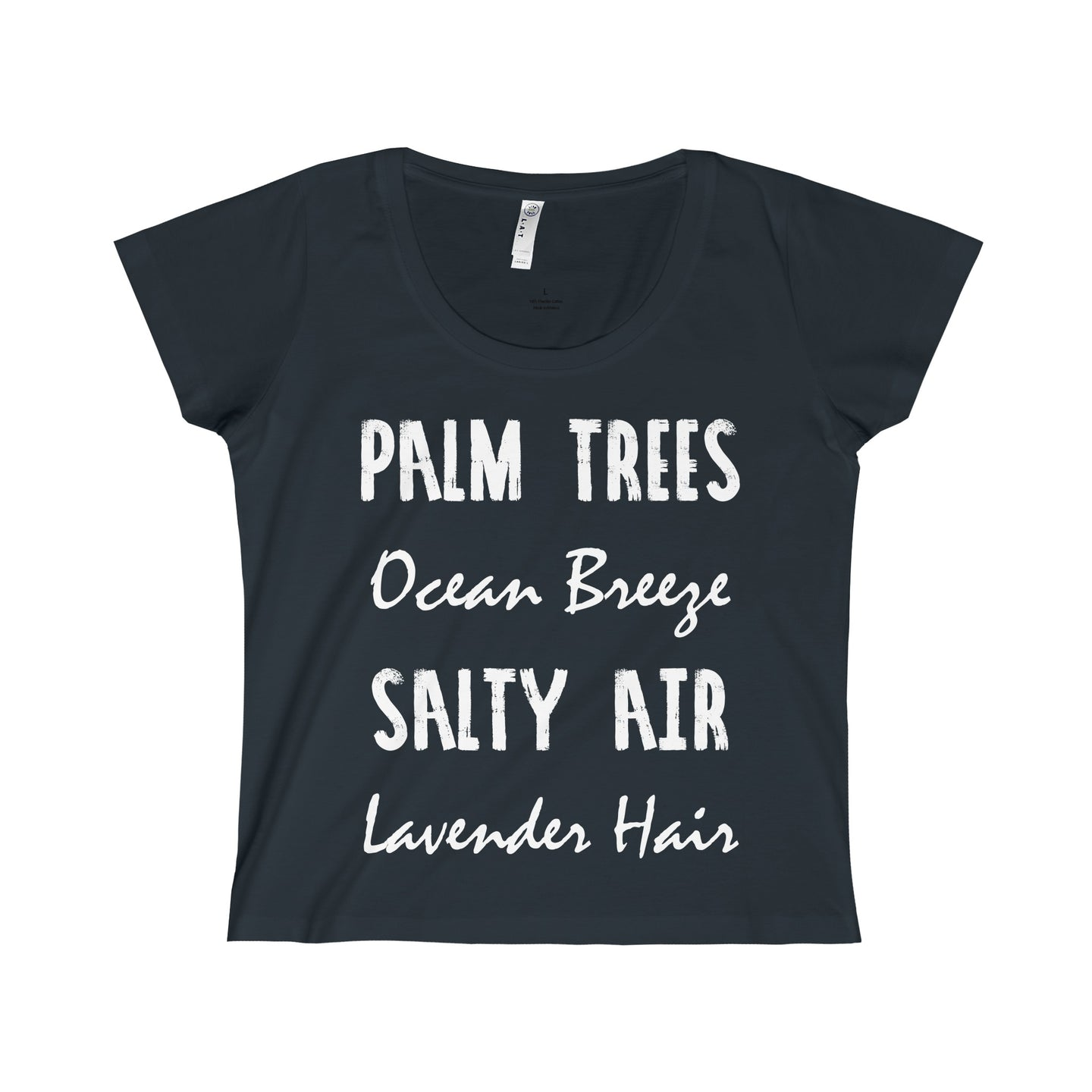 'Palm Trees Ocean Breeze Salty Air Lavender Hair' Ladies Fine Jersey Scoop Neck T-Shirt