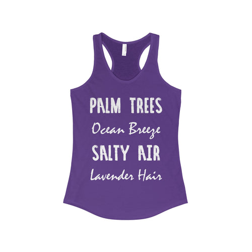 'Palm Trees Ocean Breeze Salty Air Lavender Hair' Women's The Ideal Racerback Tank