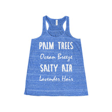 'Palm Tree's Ocean Breeze Salty Air Lavender Hair' Women's Flowy Racerback Tank