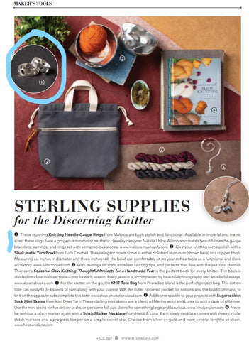 Sterling Silver Supplies for the discerning knitter is the headline on a page with a number of silver colored items for the knitter. Featured are the knitting needle gauge rings by Malojos Jewelry.