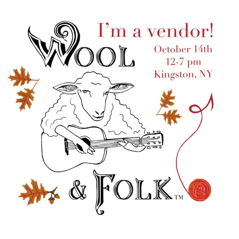 Wool and Folk Festival, I'm a vendor image with a drawing of a sheep playing a guitar, and the event information: October 14, 12pm