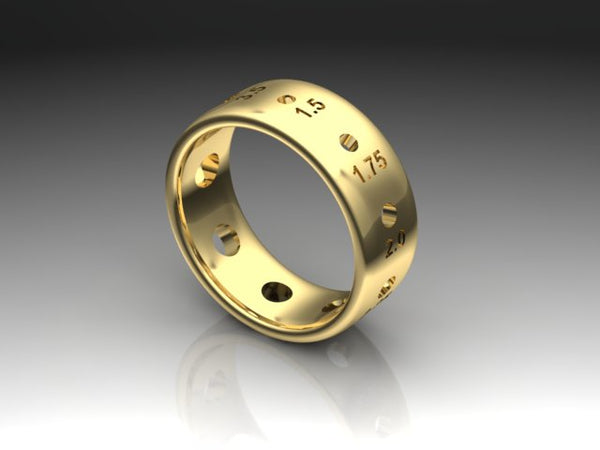 Sock Weight Metric Needle Gauge Ring, 14K Gold