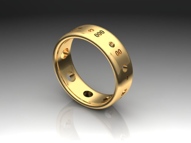 Sock Weight Needle Gauge Ring, 18K Gold