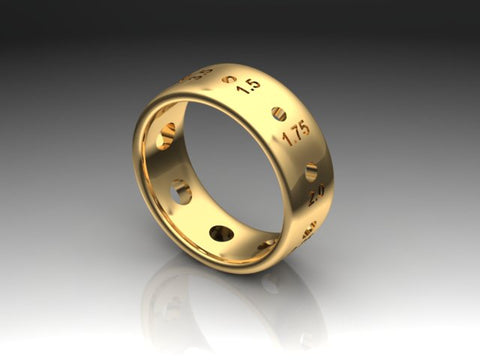 Sock Weight Metric Needle Gauge Ring, 18K Gold
