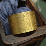 Kitchener Cheat Sheet Cuff Bracelet-Brass