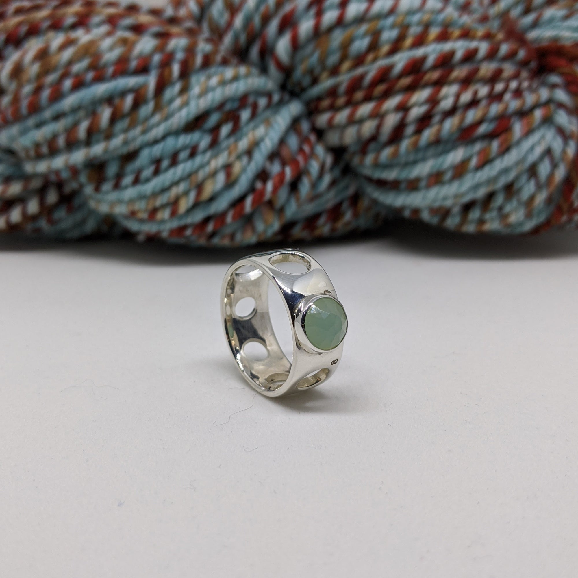 worsted weight ring set with blue chalcedony