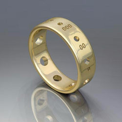 Sock Weight Needle Gauge Ring, 14K Gold