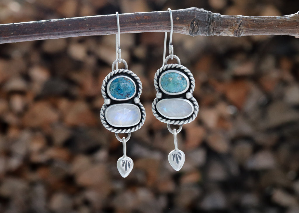 Campitos Turquoise + Moonstone Dangle Earrings