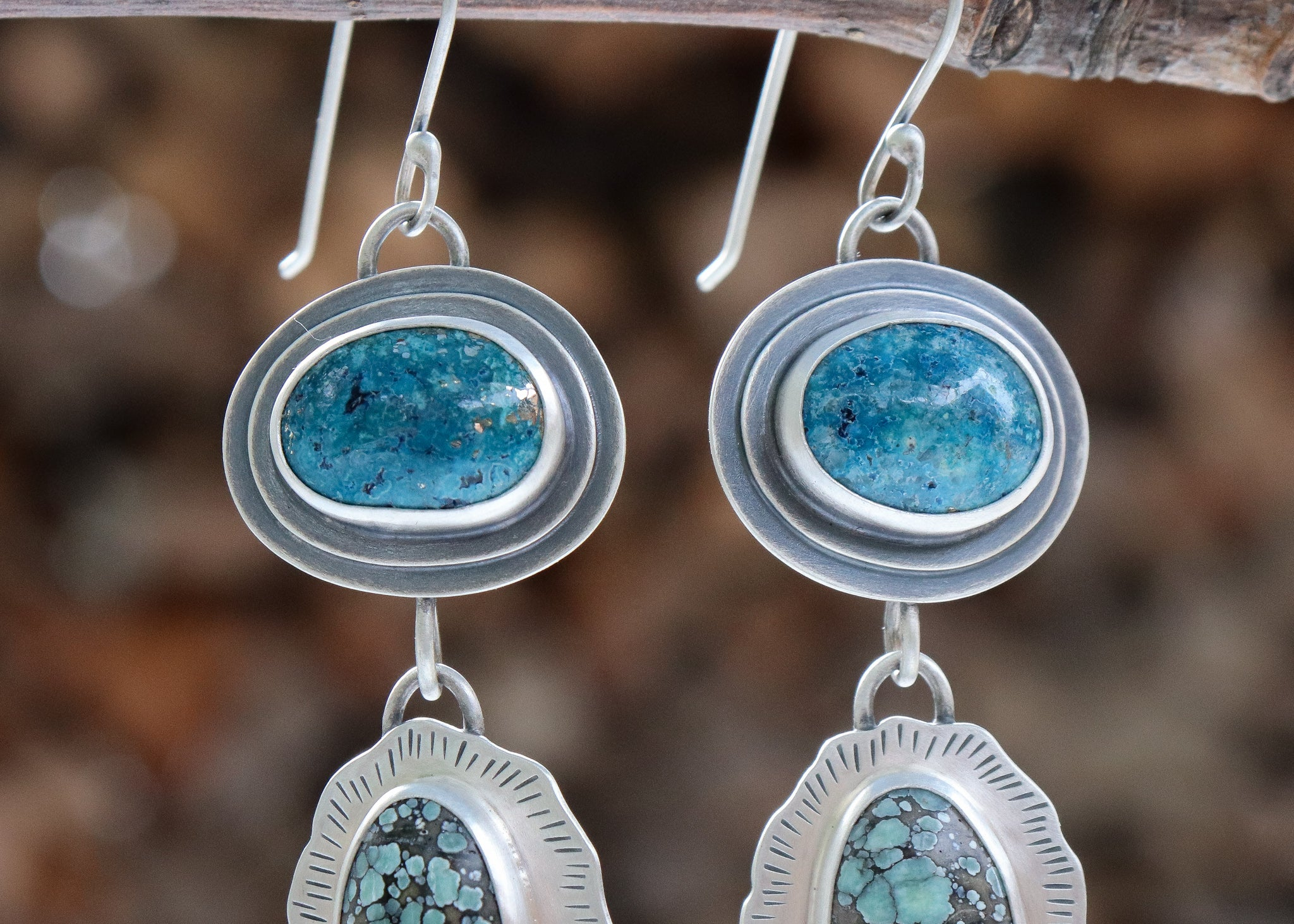 Campitos Turquoise + Starfox Variscite + Moonstone Earrings