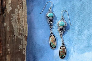 Turquoise + Iolite Shoulder Dusters