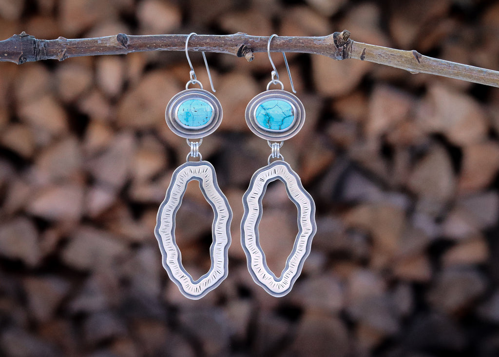 Royston Turquoise Organic Loop Earrings