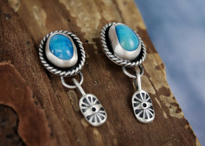Turquoise + Abstract Flower Dangle Studs