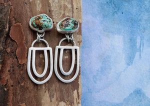 Alarcon Nugget Turquoise Double Arch Earrings