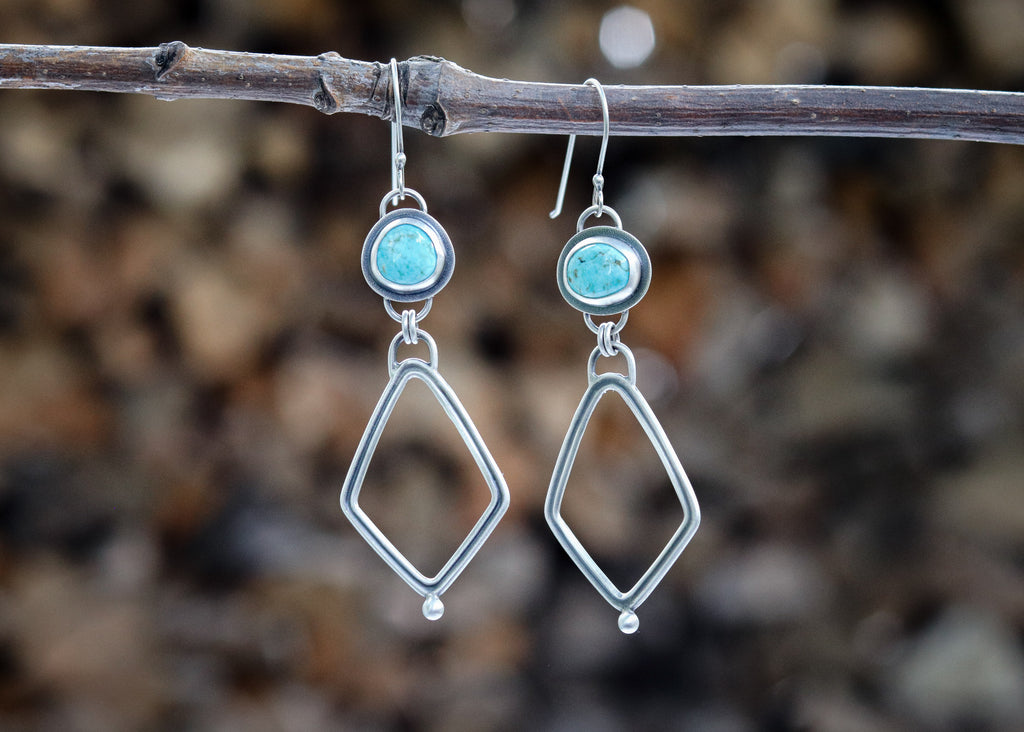 Fox Turquoise Dual Kite Earrings