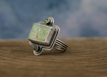Royston Turquoise + Chrome Diopside Ring - SIZE 8