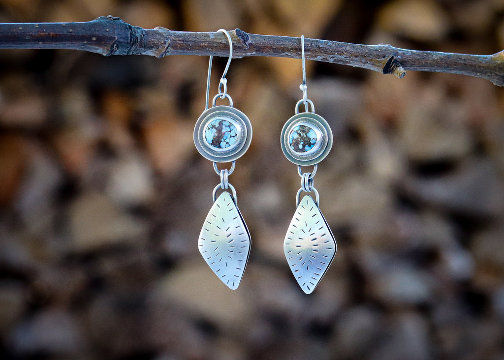 Lavender Turquoise Diamond Earrings