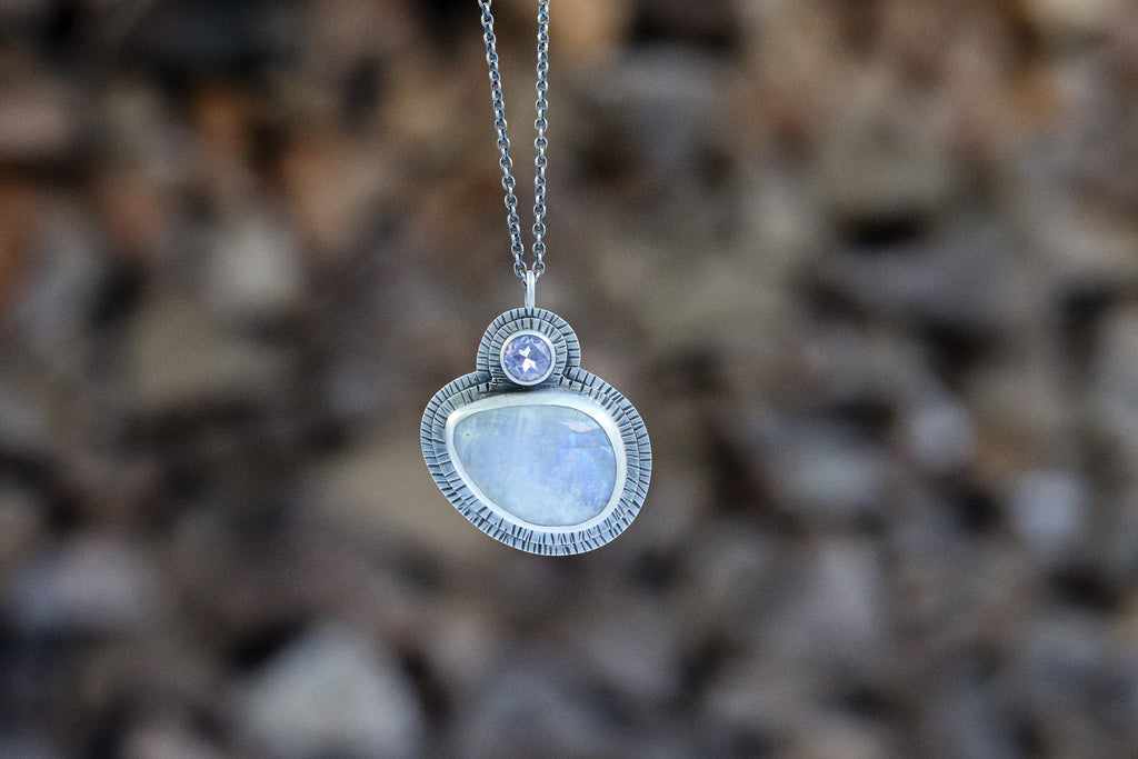Moonstone and Lavender Moon Quartz Necklace #2