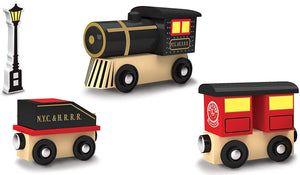 Original Steam Engine Real Wood Toy Train Set
