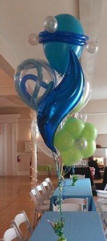 Teal, Sapphire, Lime Swirl Centerpiece