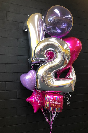Mylar and Clearz Bouquet with Numbers