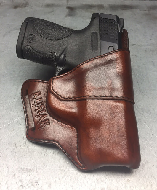 MP Shield Outside of the waistband holster - Leather made Holsters for conceal carry OWB