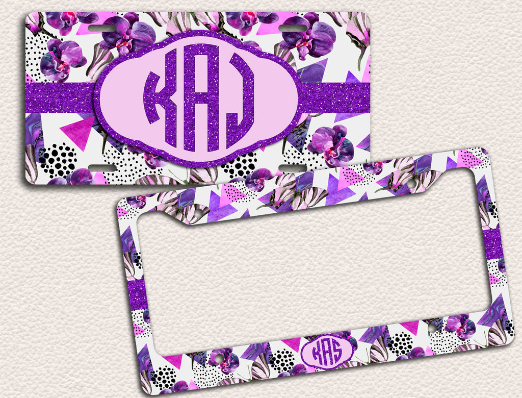 Butterfly, watercolour, pink and purple glitter, License Plate Frame ...