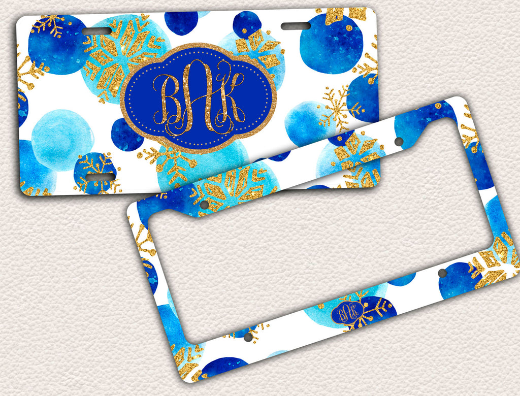 Gold Glitter and Blue, Snowflakes, Christmas, License Plate Frame ...