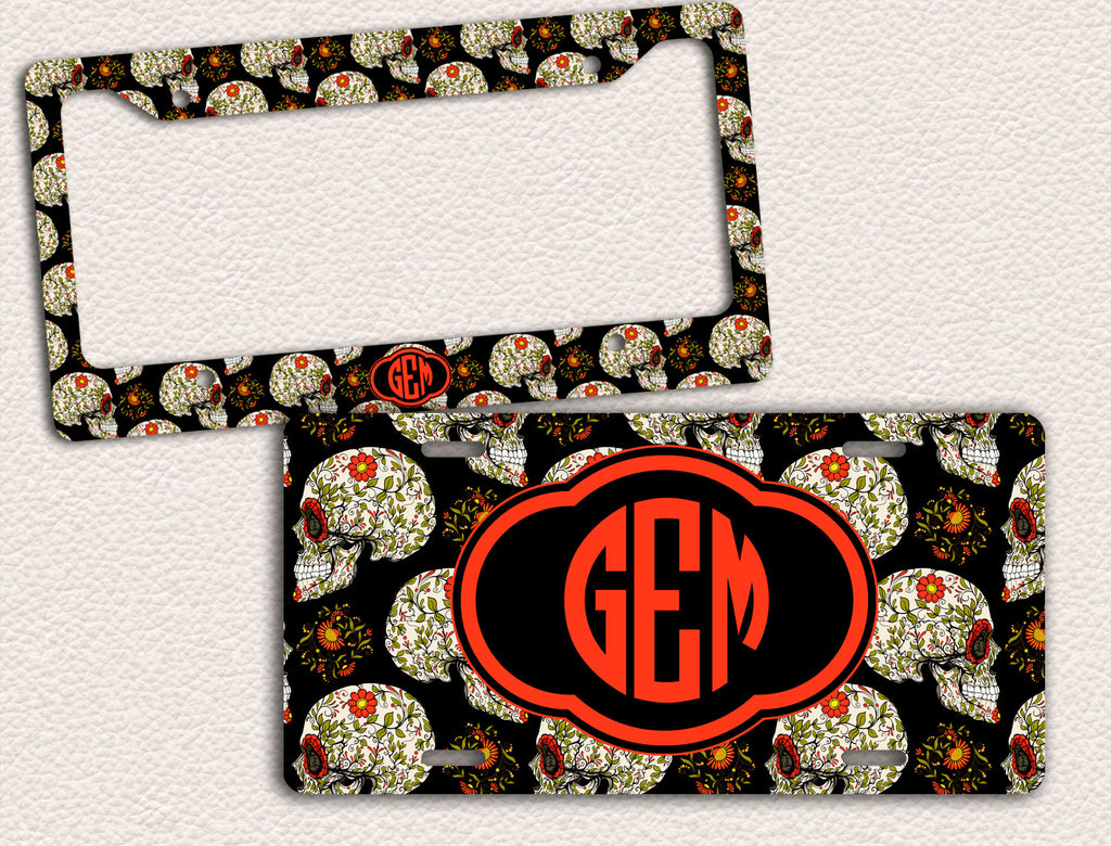 Day Of The Dead Floral Skull Halloween License Plate Frame