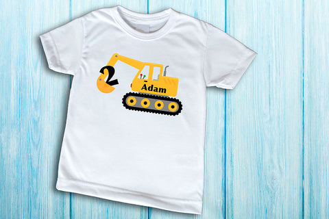 Construction Birthday Party Shirt Pick Any Number And Lettering Excavator Tshirt