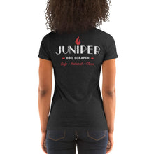 Load image into Gallery viewer, Juniper BBQ Scraper Logo ladies' short sleeve t-shirt