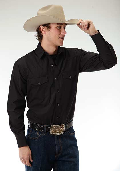 Roper black western 2 pocket long sleeve shirt