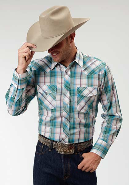 Long sleeve white and turquoise plaid shirt