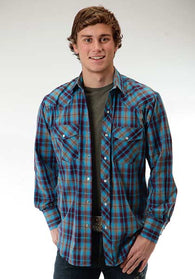 Roper cowboy plaid snap long sleeve shirt