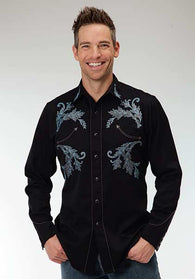 Men's long sleeve embroiderd black shirt